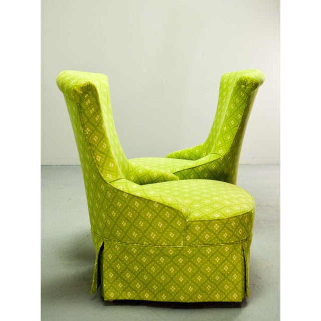 Green Fine pair of French Design Napoleon III Style Lime Green Boudoir / Slipper Chairs, 1900s For Sale - Image 8 of 12