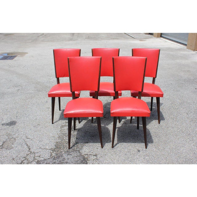 Modern 1940s Vintage French Art Deco Solid Mahogany Dining Chairs- Set of 5 For Sale - Image 3 of 13