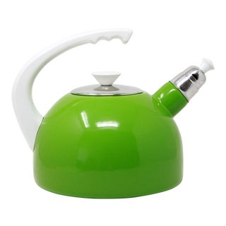 Vintage Mid Century Modern Lime Green & Chrome Tea Pot - New Old Stock For Sale
