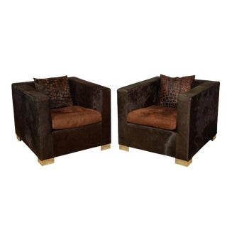 1990s Vintage Skin Club Chairs by Minotti- a Pair For Sale