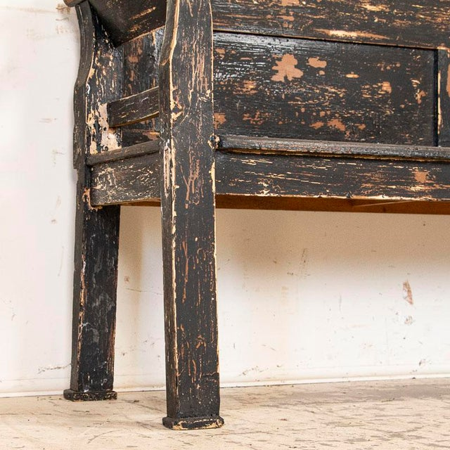 Black Antique Simple Black Painted Pine Bench From Hungary For Sale - Image 8 of 9