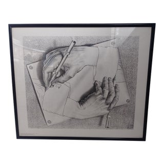 "1948 Vintage M. C. Escher ""Drawing Hands"" Reproduction Print For Sale"