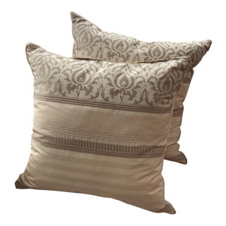 Geno Cream Pattern Pillows - a Pair For Sale