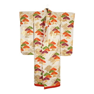 Vintage Japanese Silk Brocade Ceremonial Kimono For Sale