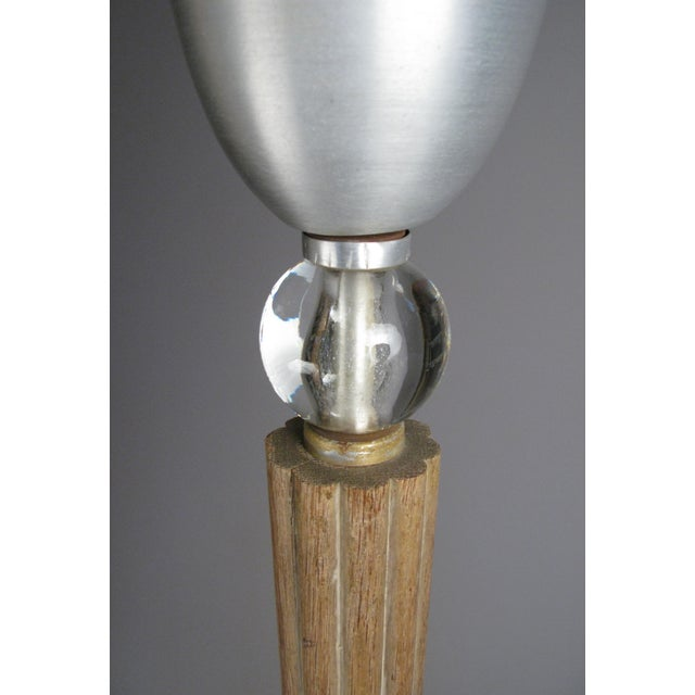 Russel Wright Aluminum & Glass & Cerrused Oak Torchiere Floor Lamp by Russell Wright For Sale - Image 4 of 8
