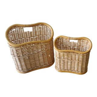 Early 20th Century Bamboo Basket Magazine Racks - A Pair For Sale