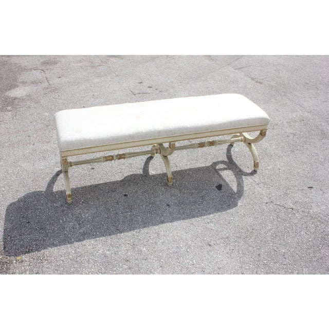 1900s Vintage Long French Louis XVI Barrel Legs Seating Bench For Sale - Image 9 of 13