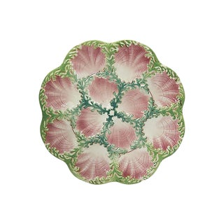 1940s Large French Majolica Oyster Plate / Platter For Sale