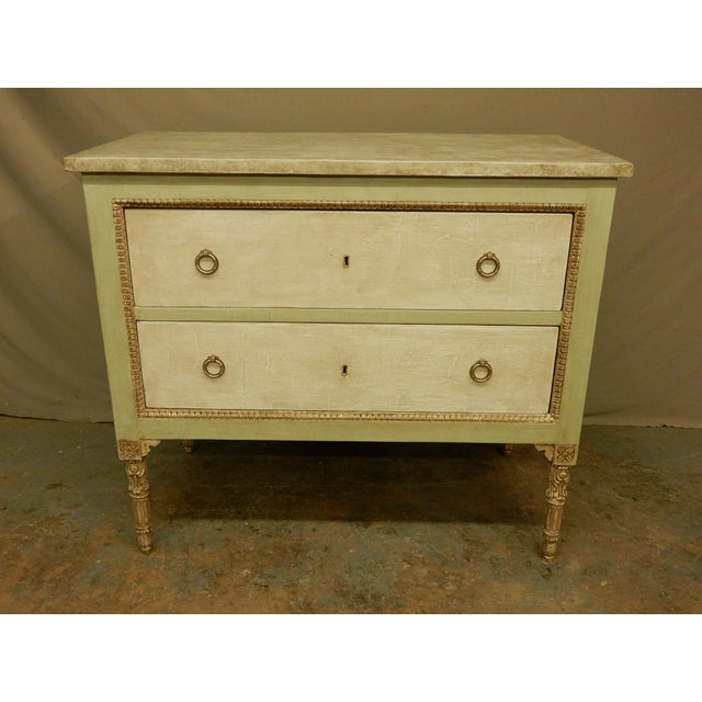 White Italian Louis XVI Style Painted Two Drawer Commode For Sale - Image 8 of 8