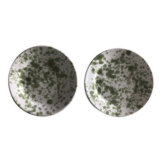 Penny Morrison Green Speckled Ceramic Plates - a Pair For Sale