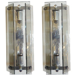 1960s Italian Mid-Century Modern Glass Sconces by Veca - a Pair For Sale