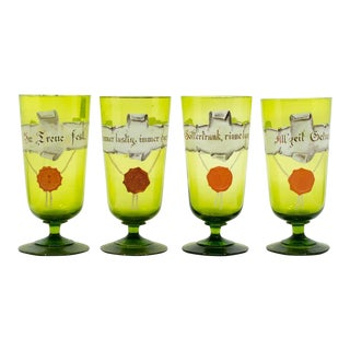1950s German Hand-Painted Pilsner Glasses - Set of 4 For Sale