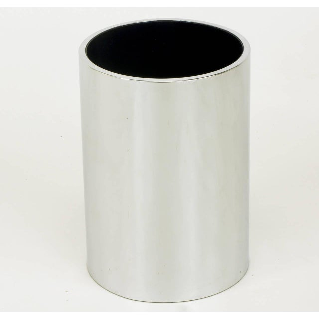 """Heavy, 7"""" diameter x 10"""" tall x 1/4"""" thick, chromed steel cylinder vessel with black enamel interior. Originally purchased..."""