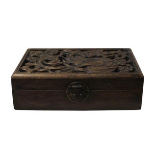 Chinese Handcrafted Huali Rosewood Carving Rectangular Storage Chest Box For Sale