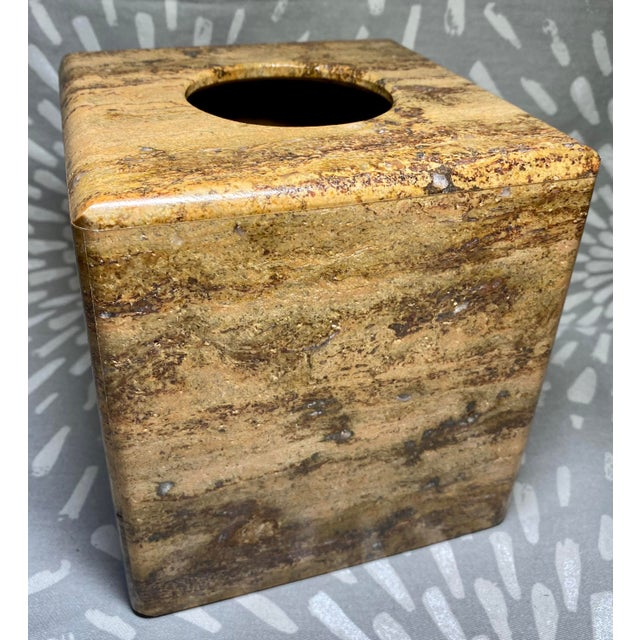 Brown Waterstone Dark Travertine Tissue Box Cover Holder For Sale - Image 8 of 8