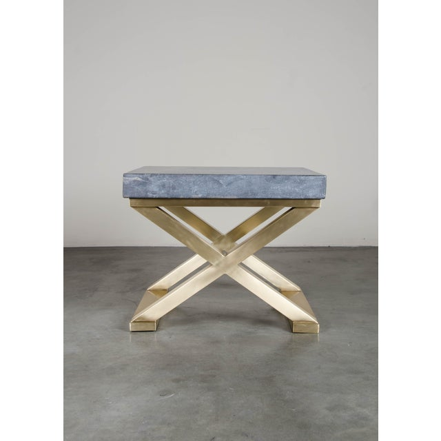 Contemporary Brass Cross-Leg Table with Stone Top For Sale - Image 3 of 5