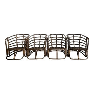Mid-Century Calif-Asia Rattan Lounge Chairs - Set of 4 For Sale