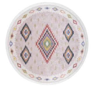Traditional Turkish Pattern Inspired Area Rug Round - 4′6″ X 4′6″