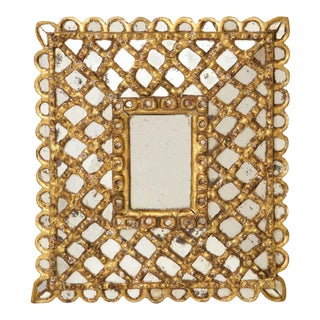Spanish Gilded and Carved Petite Wood Mirror For Sale