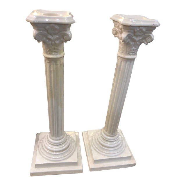 Creamware Candle Holders - a Pair For Sale