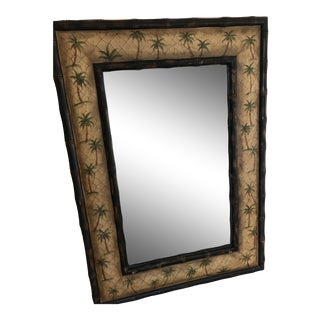 Bassett Bamboo and Palm Tree Crackle Frame Mirror For Sale