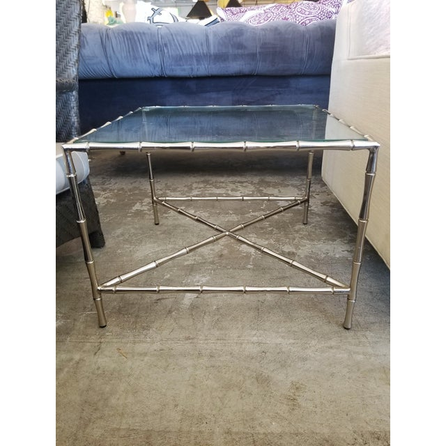 Contemporary William Sonoma Bamboo Motif Chrome & Glass Side Table For Sale - Image 4 of 4