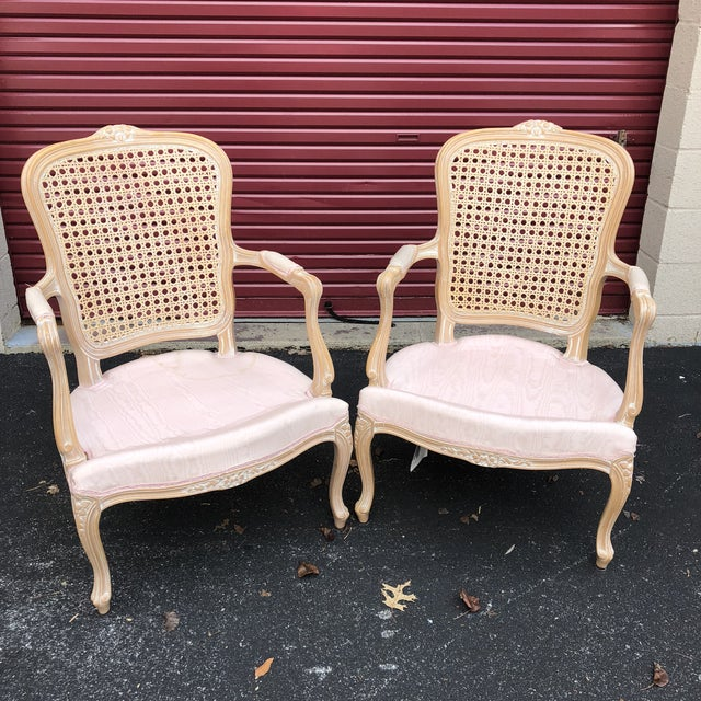 Pair of Vintage Chateau d'Ax Louis XV Bergere French Country Provincial Chairs For Sale - Image 12 of 12