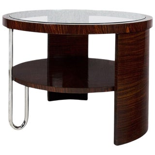 1930s Art Deco Tripod Side Table, Mahogany, Glass, Steel, Italy For Sale