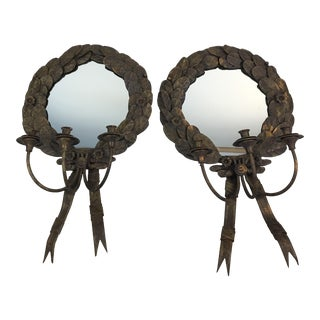 Mirrored William Switzer Italian Style Acanthus Leaf Wall Candle Sconces - a Pair