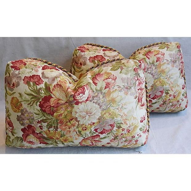 "24"" x 15"" Custom Tailored English Floral Linen Feather/Down Pillows - Pair - Image 10 of 11"