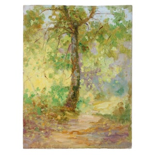 Impressionist Forest Landscape, Oil Painting, Circa 1900-1930s For Sale