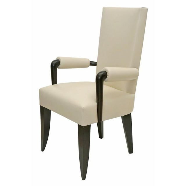 Art Deco French Beech Wood Desk Chair With Ivory White Leather Upholstery, France, 1930s For Sale - Image 3 of 3