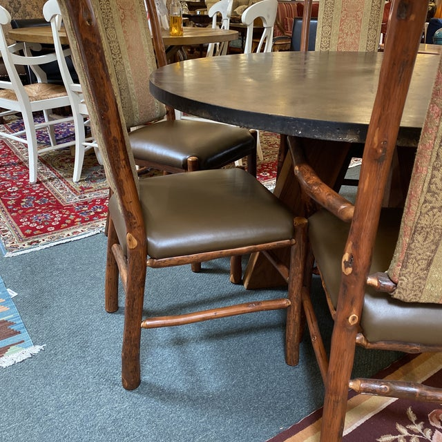 Custom Round Cement + Teak Dining Table + Six Hickory Wood Chairs- a Set For Sale In San Francisco - Image 6 of 13