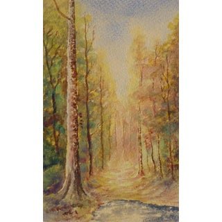 French Watercolor - Path to Autumn For Sale