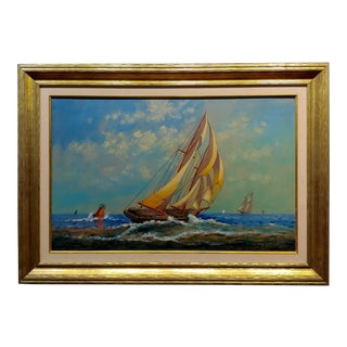 "E. D. Ward ""Sailboat Racing"" Painting, 1950s For Sale"