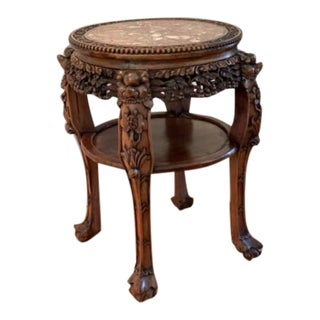 Antique Chinese Marble Side Table For Sale