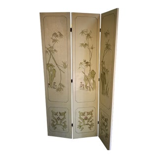 Vintage Chinoiserie Bamboo Birds Folding Screen Room Divider For Sale