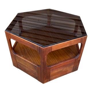 Mid Century Modern John Keal for Brown Saltman Glass Top Hexagonal Side Table For Sale