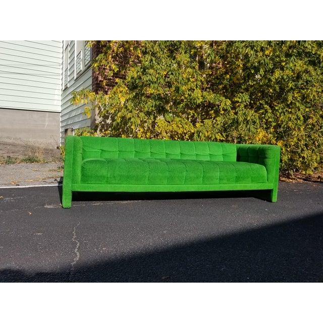 Vintage Mod Retro Mid-Century Modern Kelly Green Velvet Sofa For Sale In Providence - Image 6 of 6