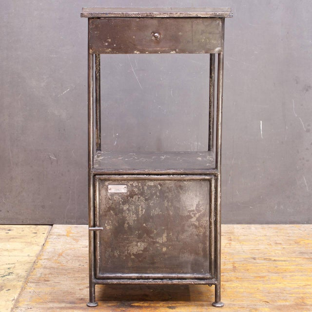 Industrial Industrial Alms Petite Industrial Steel and Slate Bedside Table With Cabinet For Sale - Image 3 of 7