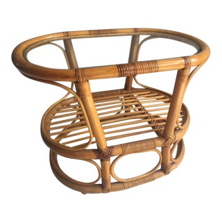 1970s Mid-Century Modern Franco Albini Bamboo and Rattan Accent Table For Sale