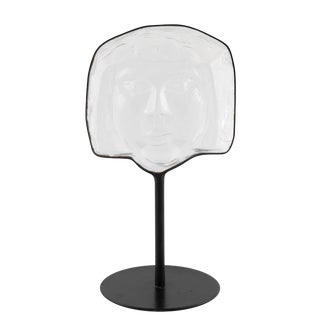 Glass Face Sculpture on Iron Stand by Erik Hoglund for Kosta Boda, Circa 1960s For Sale