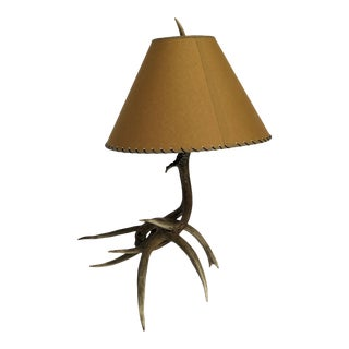 Vintage 1950s Deer Antler Lamp For Sale