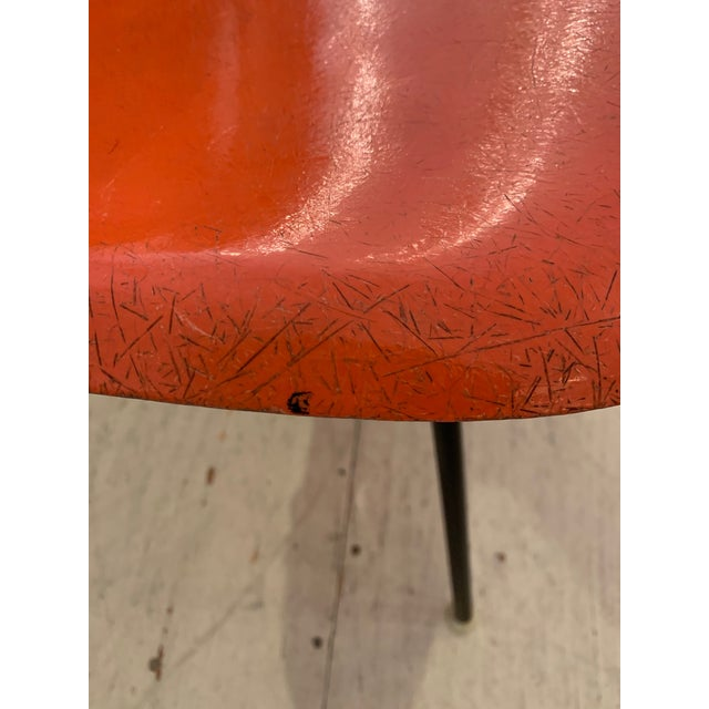 Orange Set of 3 Bright Orange Mid Century Modern Shell Eames Chairs For Sale - Image 8 of 13