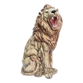 1977 Handmade Ceramic Lion Sculpture For Sale