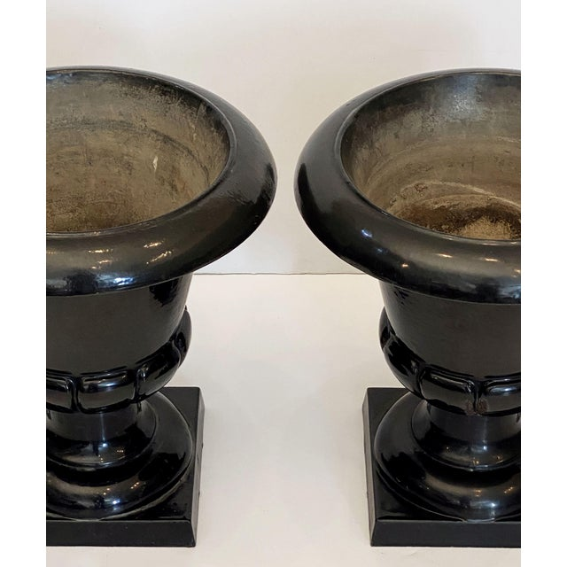 English Cast Enamel Glaze Garden Urns - a Pair For Sale - Image 10 of 13