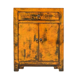 Oriental Chinese Distressed Orange Side Table Cabinet
