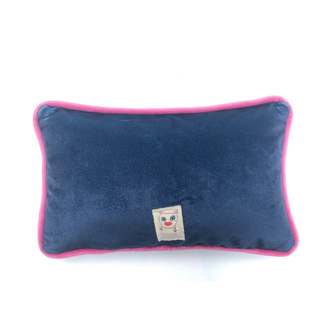 Feather Alice Roosevelt Longworth Sassy Quote Ink Blue Velvet Toss Pillow For Sale - Image 7 of 8
