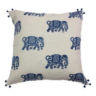 Indigo Elephant Walk Decorative Pillow