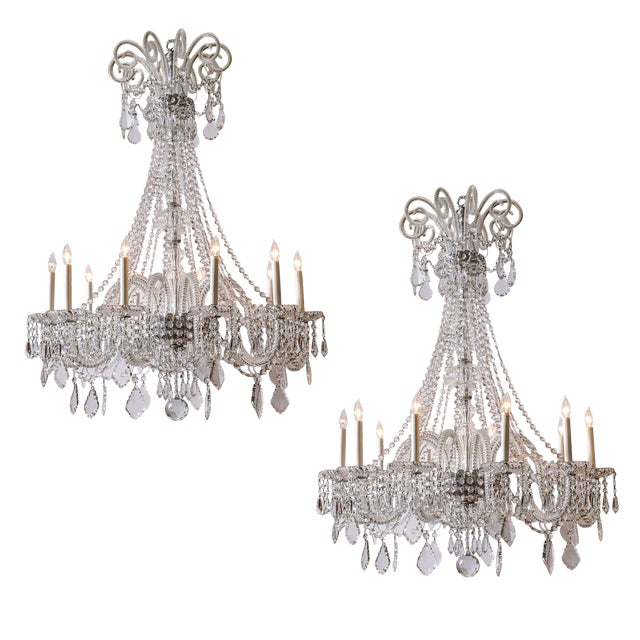 Pair of Cut Crystal Chandeliers For Sale